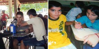 Duas imagens diferentes de dois amigos em mesas, uma almoçando e outra estudando
