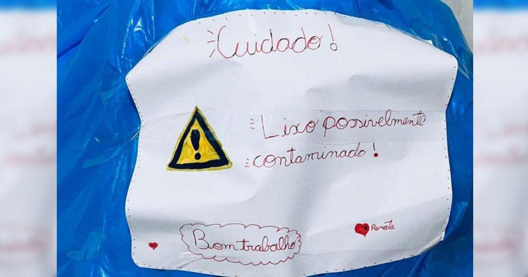 bilhete colado saco lixo alerta garis risco contágio coronavírus