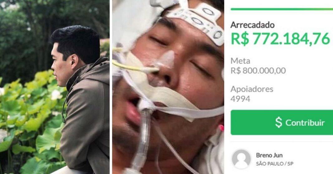 Homem olhando para jardim, homem intubado e print de tela de vaquinha online