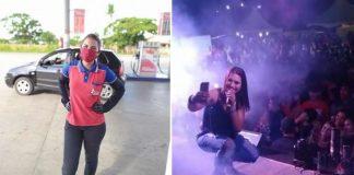 Frentista com uniforme de trabalho em posto e ao lado ela agachada em palco fazendo selfie com plateia e cantando