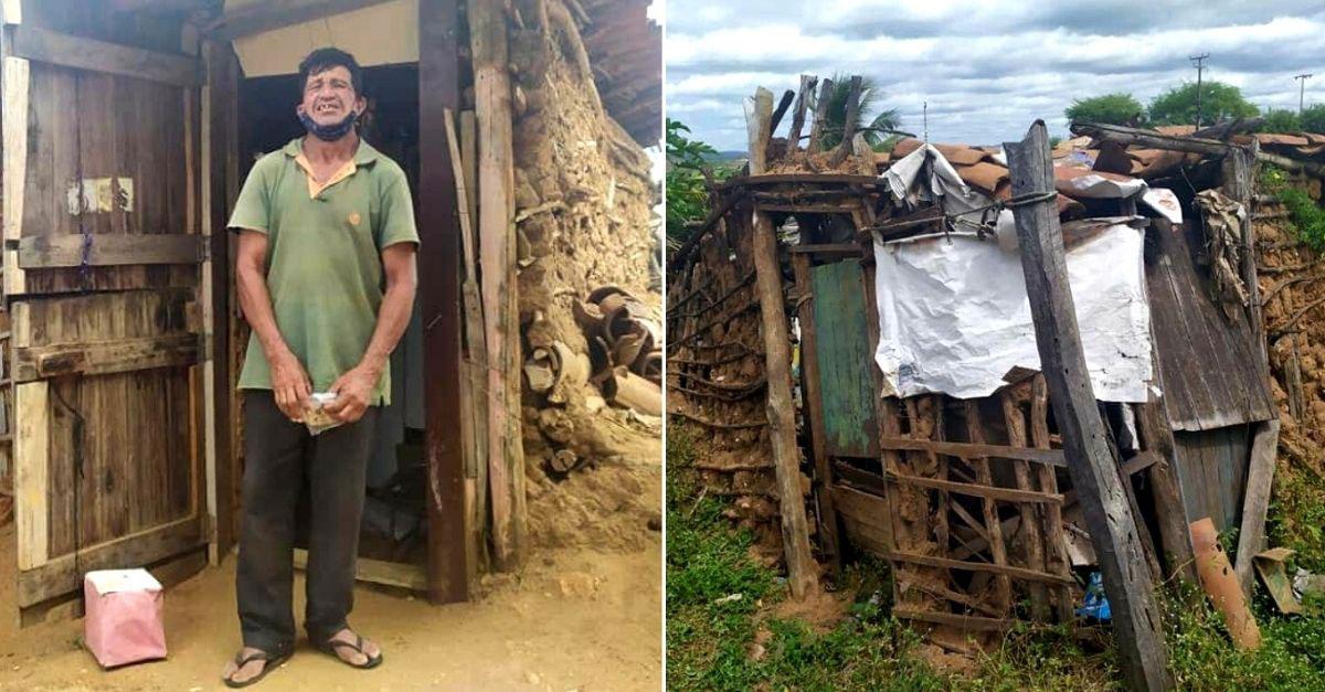 homem casa barro madeira