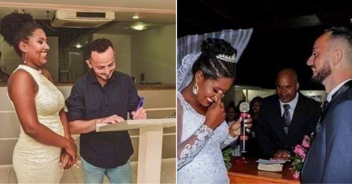 noivo e noiva assinando certidão casamento