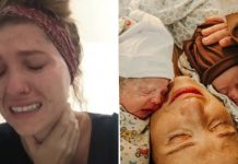Imagem de mãe chorando por sofrer com dificuldade de engravidar e ao descobrir gravidez e de mãe e pai com gêmeos logo após o parto