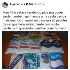 post mãe doação cesta básica pacotes de sal