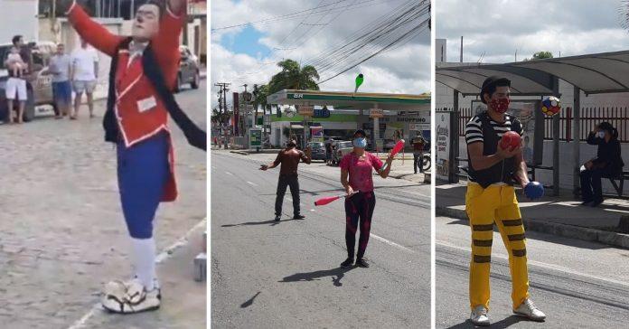 Palhaço e malabaristas fazendo apresentação de circo no meio da rua