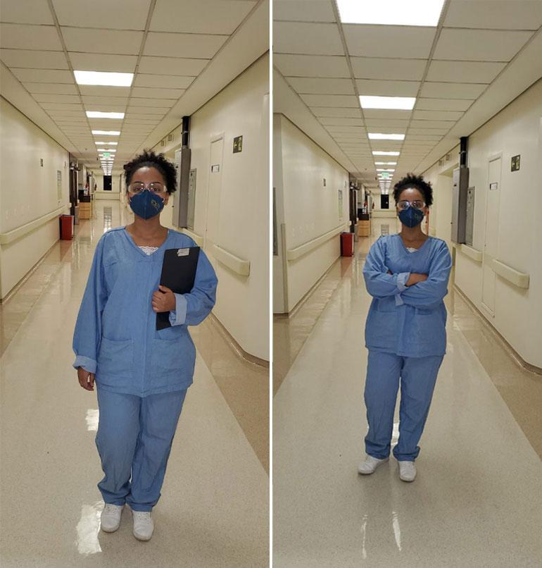 enfermeira negra corredor hospital