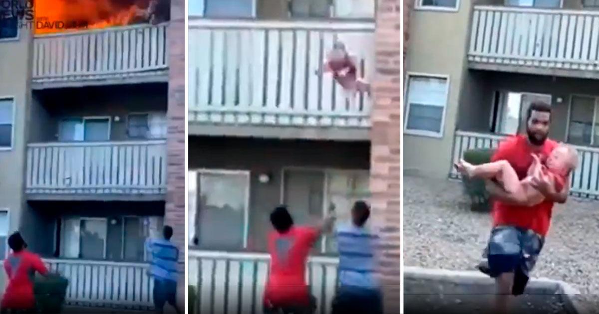 Ex-jogador salva criança arremessada de prédio em chamas