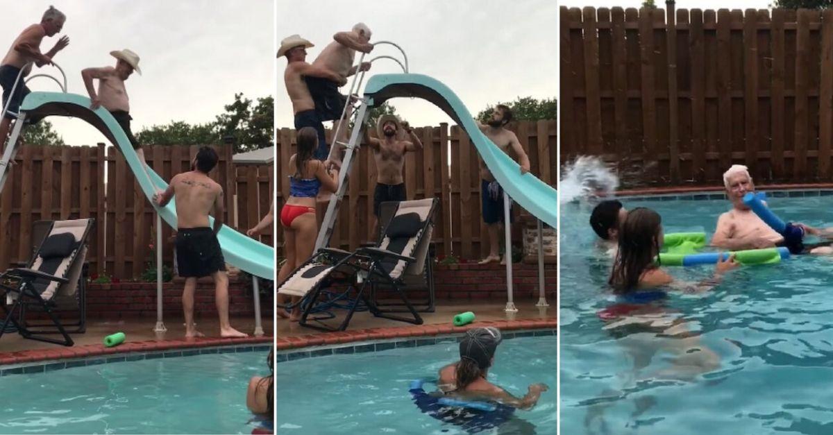 Família ajuda vovô de 94 anos a subir no escorregador para que ele possa dar um mergulho 1