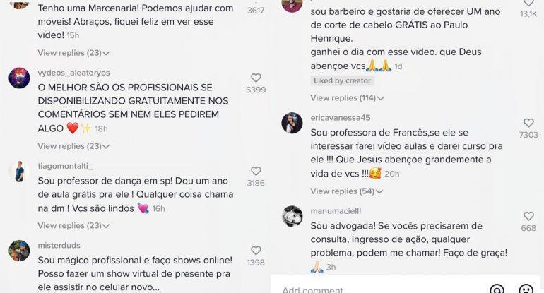Print de comentários em postagem do TikTok