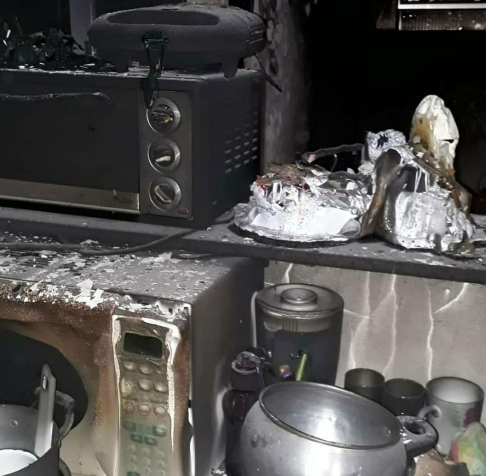 microondas panelas queimados incêndio casa