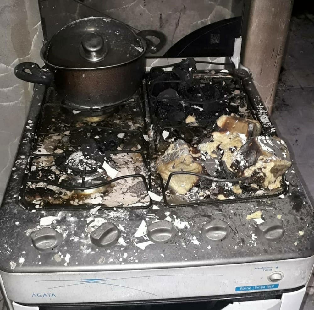 fogão queimado incêndio