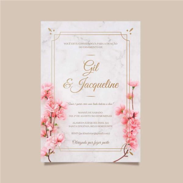convite de casamento Jacque e gil