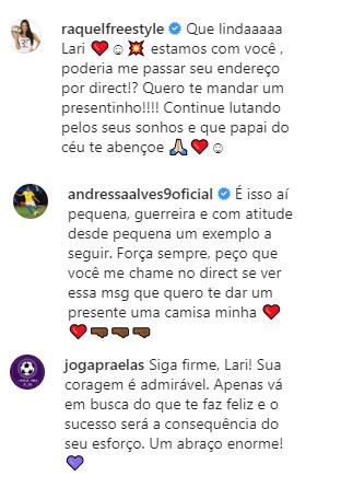 comentários no post de Larissa