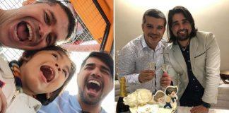 Pai, marido e filho adotivo em parque de diversões e em casamento