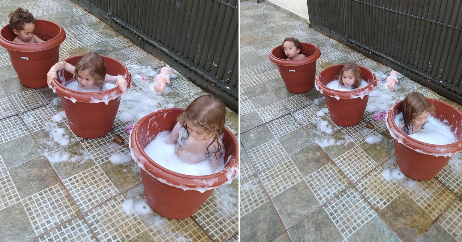 crianças dentro vasos planta imitando ofurô