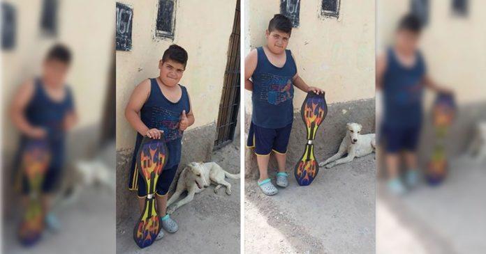 menino segura skate ao lado cachorro deitado