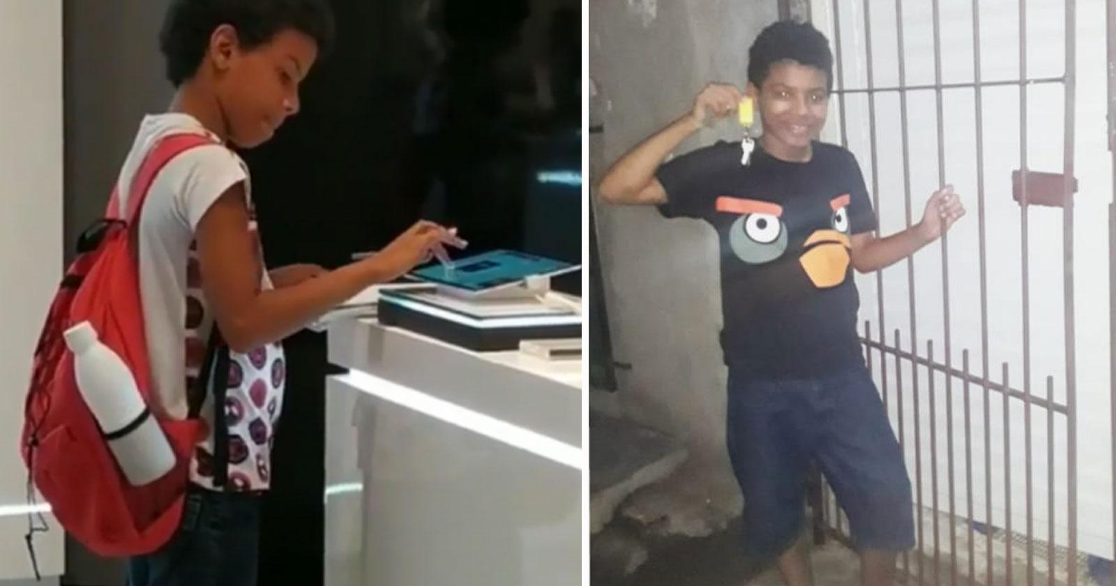 menino estudando tablet loja samsung