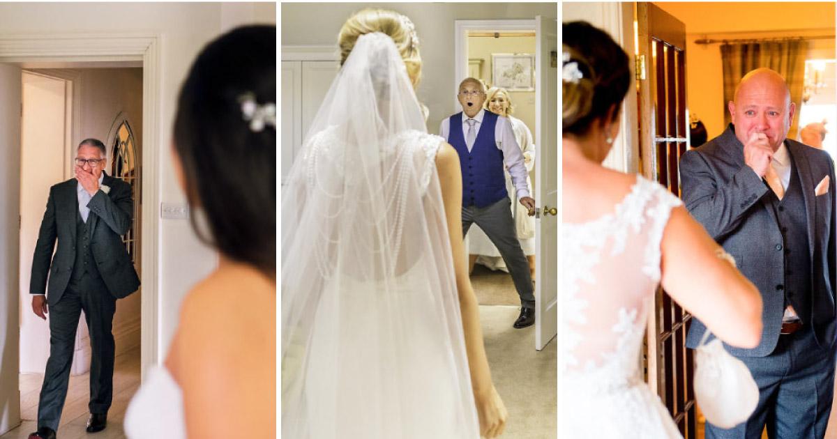 14 fotos registram a emoção dos pais ao verem suas filhas vestidas de noiva 1