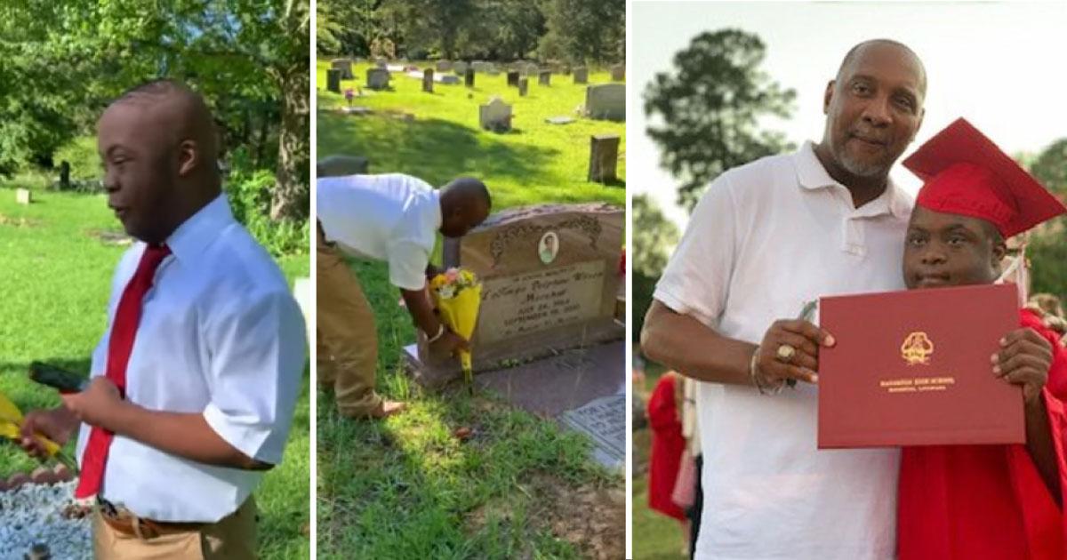"""Jovem com Down vai até o túmulo da mãe contar sua conquista: """"Eu consegui. Eu me formei hoje!"""" 1"""