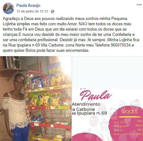 post facebook mulher desempregada lojinha doces improvisada