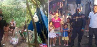 Família vivendo no mato e família morando em casa de policial