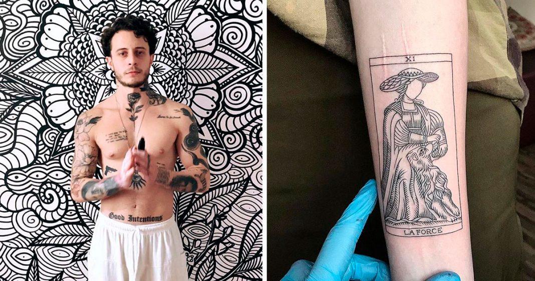 Tatuador de SP que faz tatuagem para cobrir tentativa de suicídio