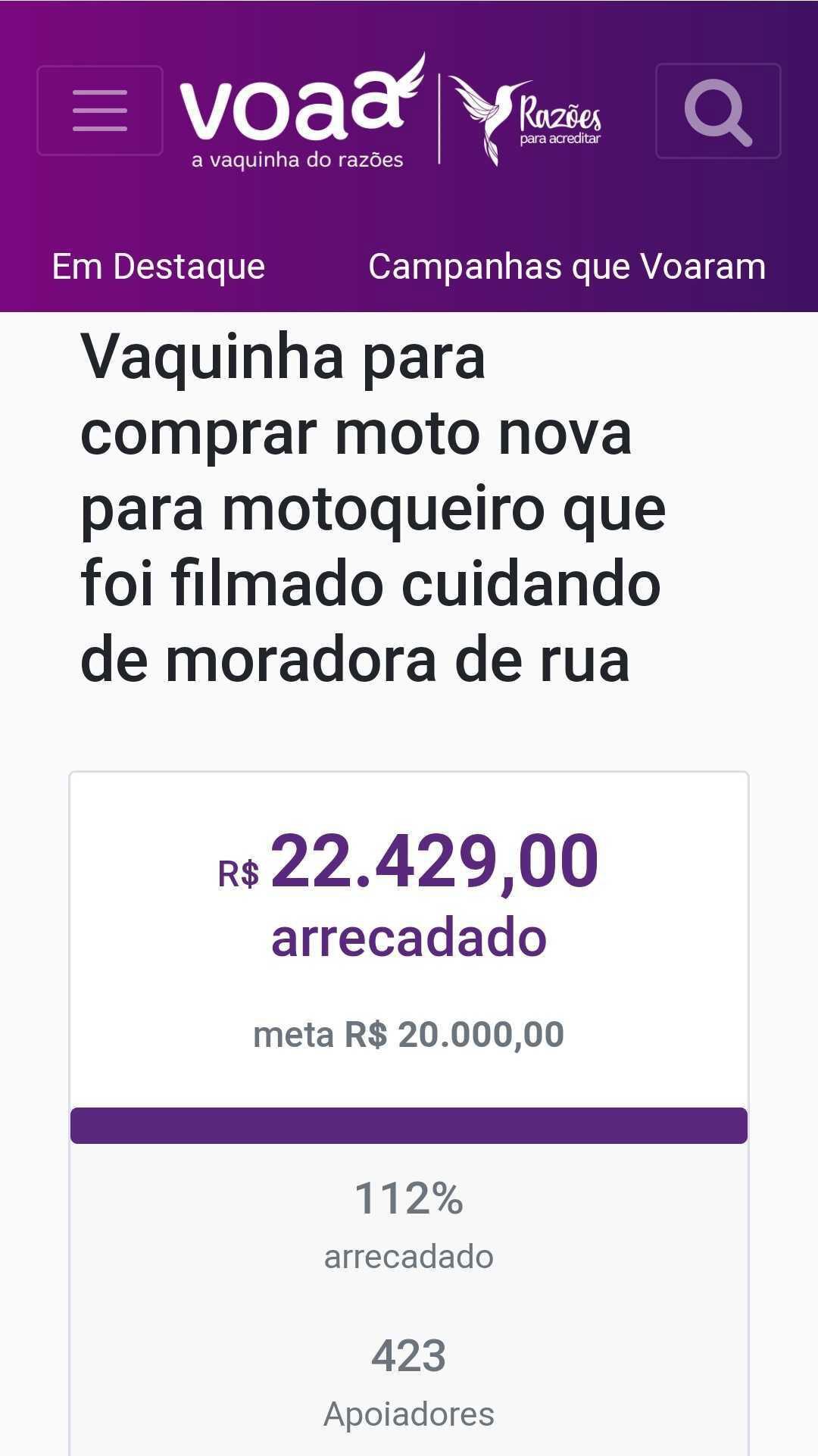 print vaquinha comprar moto motoboy cuidou moradora rua