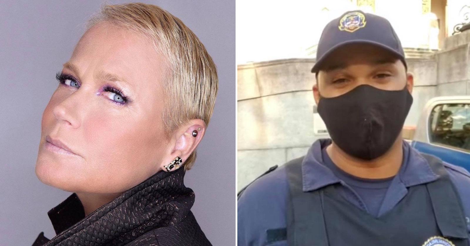 Xuxa homenageia guarda municipal humilhado por desembargador e ele se emociona - vídeo 1
