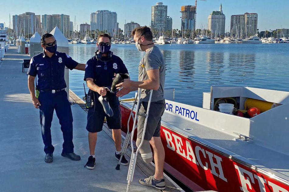 bombeiros entregam prótese atleta paralímpico retirada mar