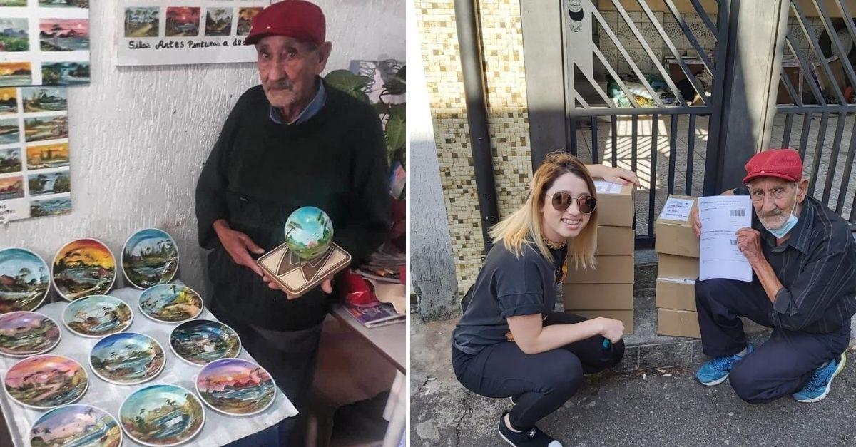 Imagem de avô segurando prato com pintura e vários outros pratos com pinturas coloridas e imagem de neta e avô ao lado de caixas de encomendas