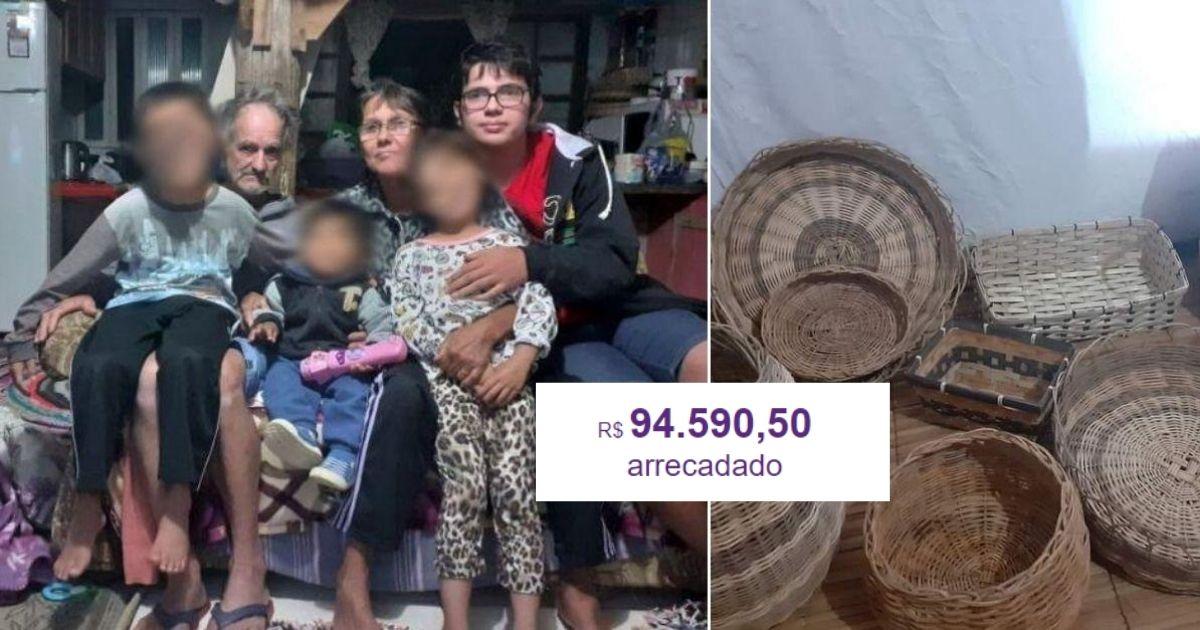 Após comoção, vaquinha para avós que vendem cestos de cipó para cuidar dos netos bate R$ 94 mil 1