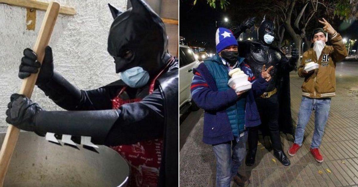 batman distribui comida aos necessitados