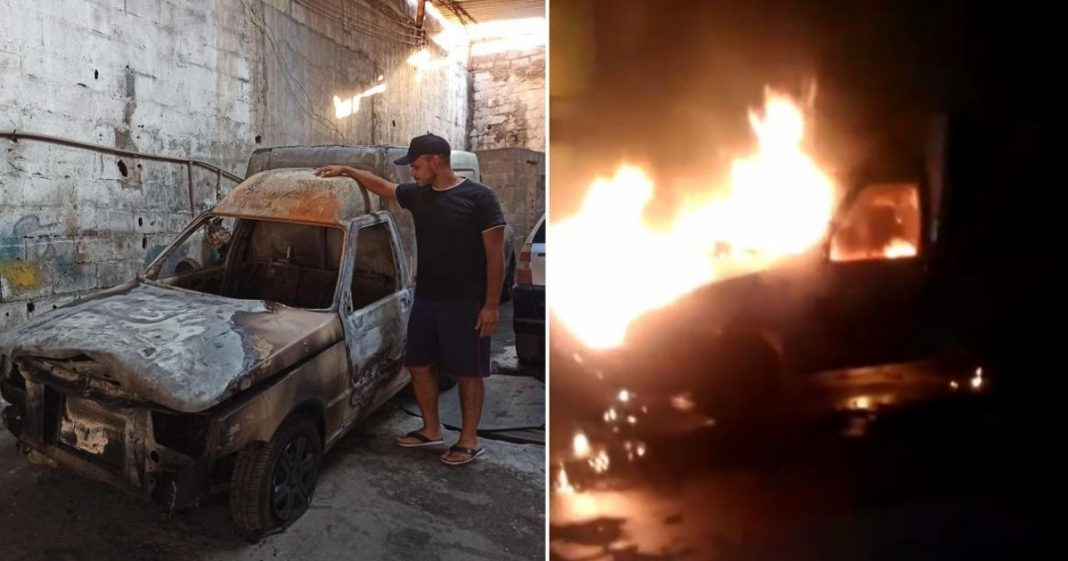 carro queimando incêndio estacionamento