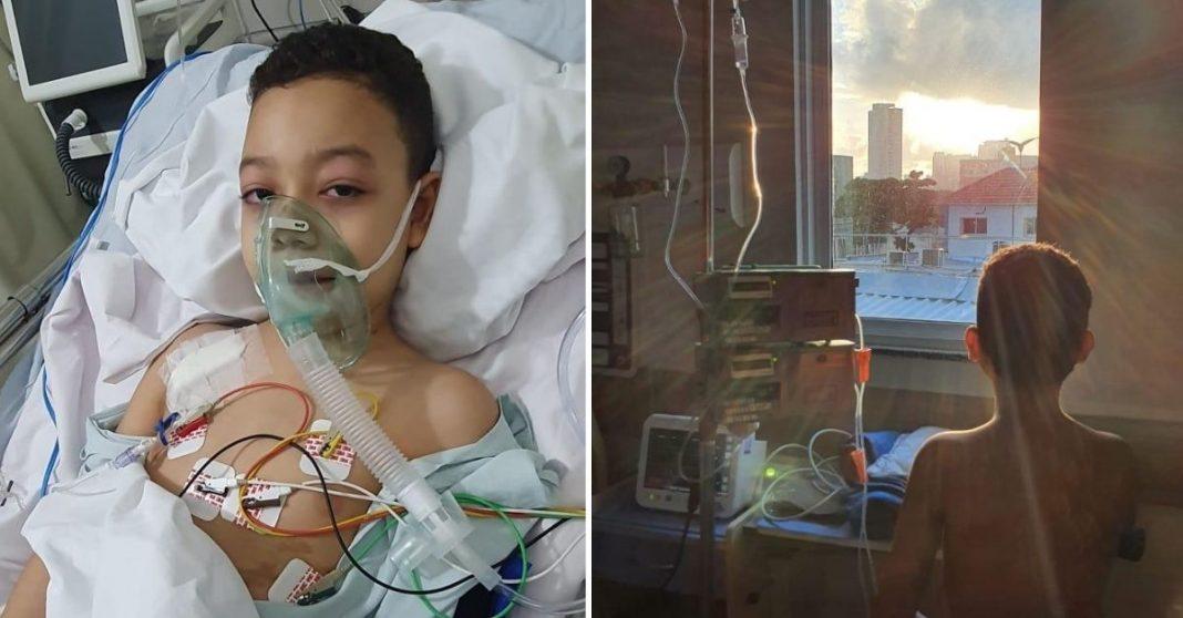Criança com tubo de oxigênio em leito de hospital e Menino de dentro do hospital com acesso de soro olhando o nascer do sol pela janela