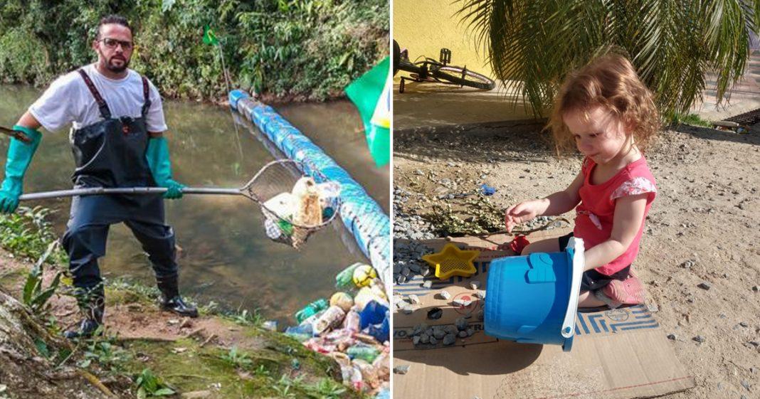 homem retira garrafas pet rio ecobarreira