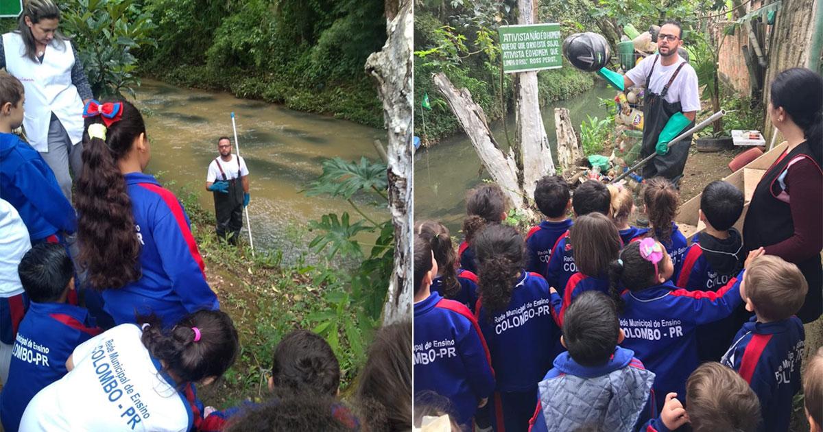 Paranaense limpa rio com ecobarreira e lixo plástico vira brinquedos para crianças 3