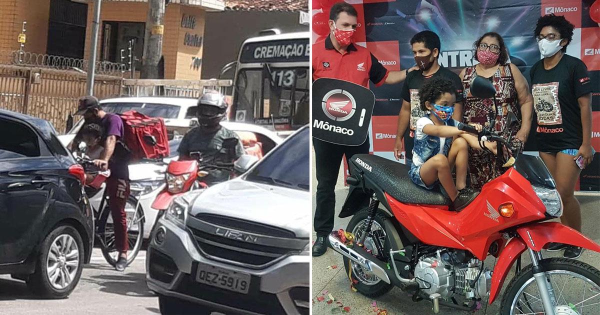 Após repercussão, entregador que trabalha com filha na bike ganha moto e emprego em restaurante 1