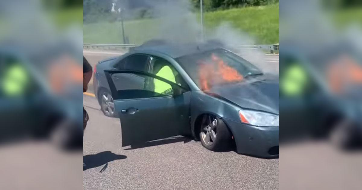 homem entra carro em chamas salvar motorista