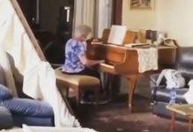 idosa toca piano casa destruída explosões líbano