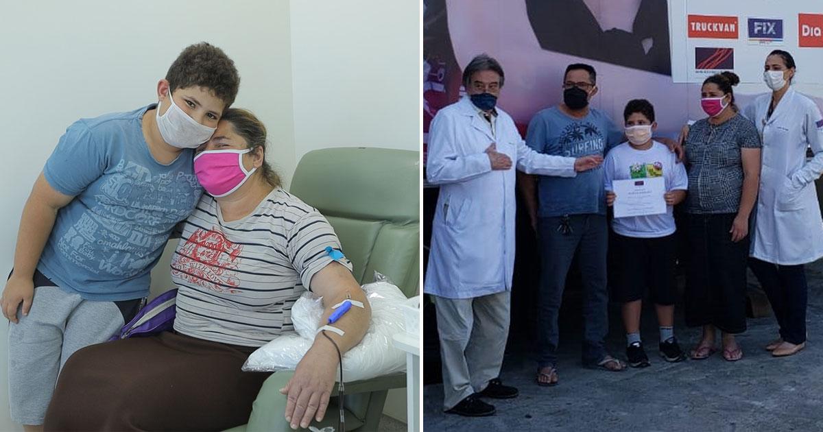 Filho de 10 anos pede e mãe doa sangue em seu lugar, como presente de aniversário (SP) 1