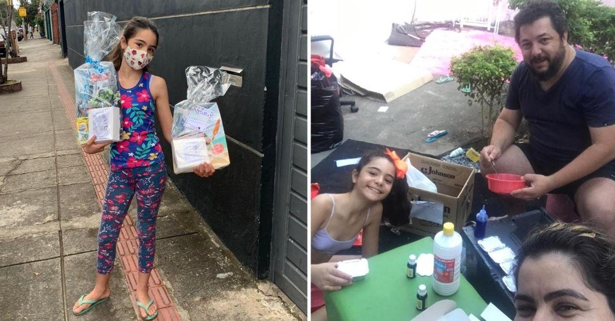 Menina entregando kit em rua e ao lado ela com os pais em volta de mesinha montando kits infantis