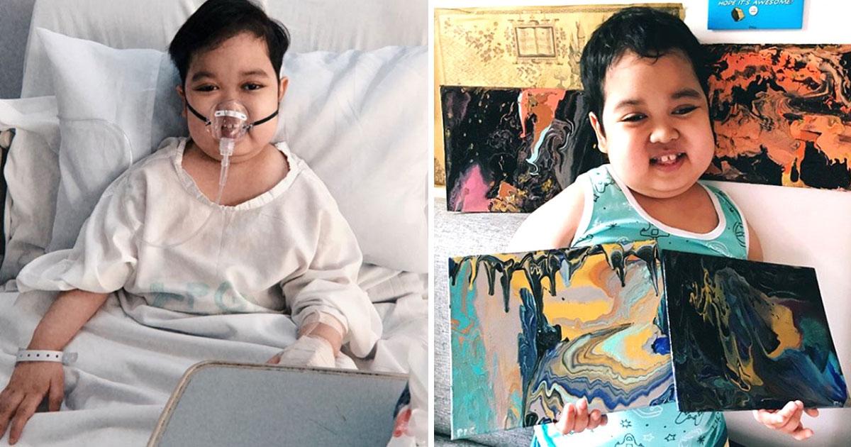 Gratidão: menino com câncer vende pinturas para ajudar hospitais que cuidaram dele 1
