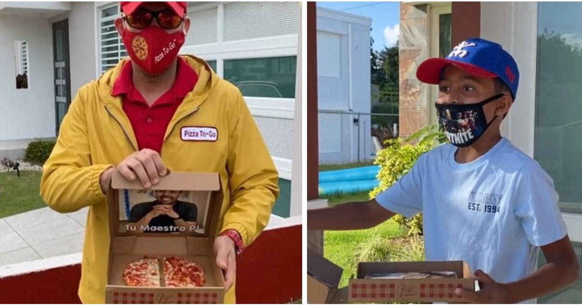 Surpresa inesquecível! Professor visita alunos disfarçado de entregador de pizza e as reações são as mais lindas! 1
