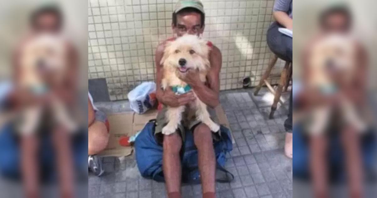 Homem em situação de rua recusa proposta de R$ 2 mil para vender seu cão, Santos (SP) 1