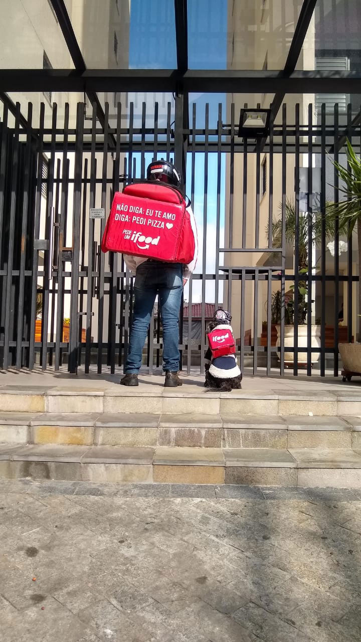 entregador aplicativo e cadelinha em frente prédio