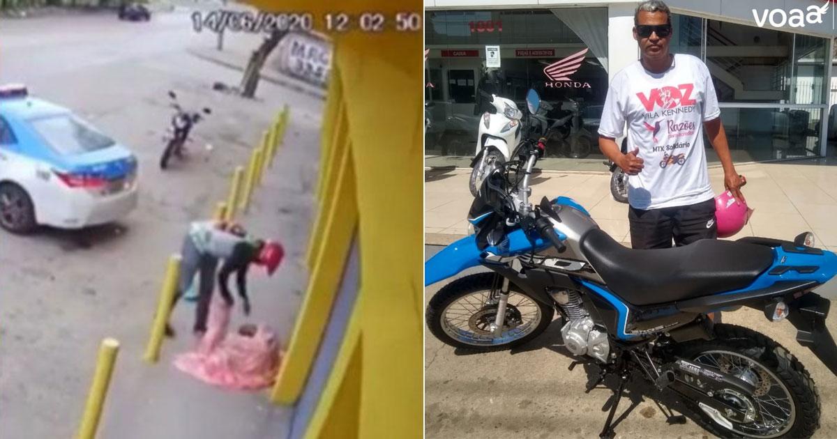 Motoboy 'flagrado' cuidando de moradora de rua compra moto nova com vaquinha 1