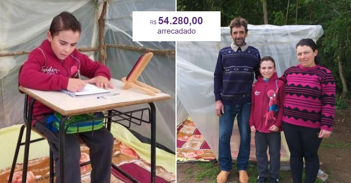 Em menos de 24h, vaquinha para menino que estuda em barraca na lavoura arrecada mais de R$50 mil 1