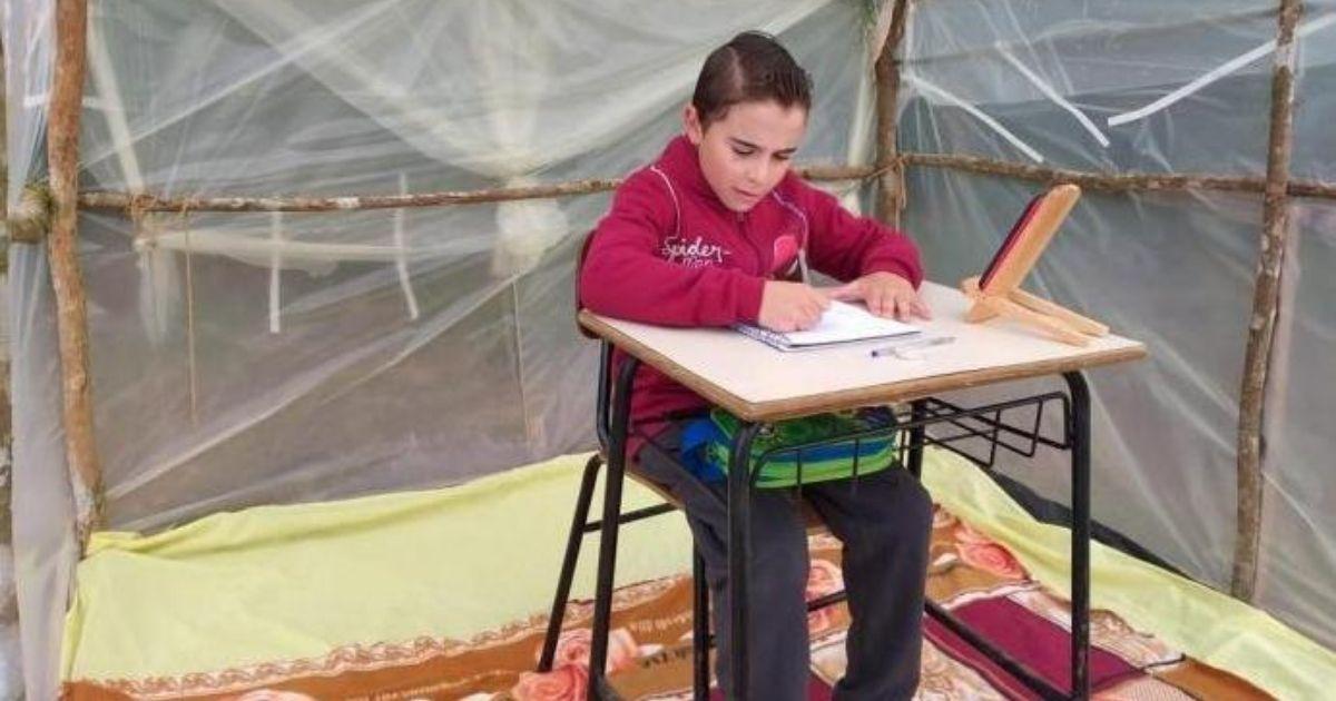 Sem internet em casa, pai constrói barraca no meio da lavoura para filho estudar durante a pandemia 1
