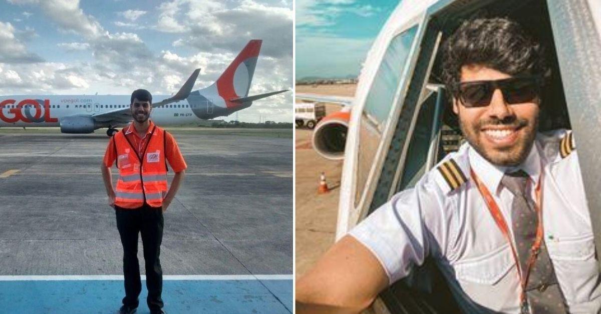 Garoto com uniforme de trabalho de pista de aeroporto em frente a avião e ao lado o mesmo garoto agora como piloto de avião na janela da cabine da aeronave