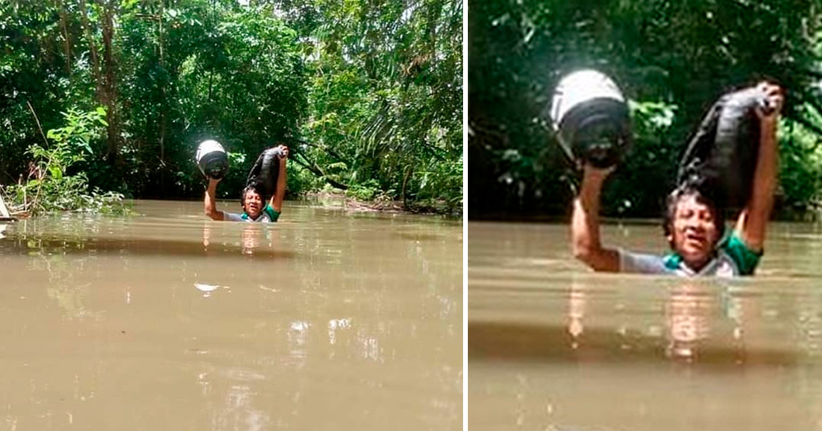 Professor percorre 30 Km e atravessa igarapé com água no pescoço para imprimir tarefas de alunos indígenas em RR 1